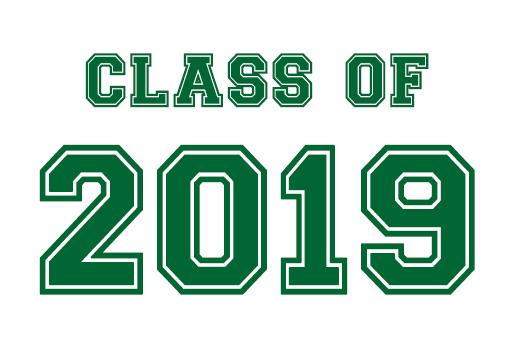 class of 2019 in green text with an accent mortar board cap